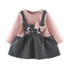 50ef04da777c2 MUQGEW offre spéciale Enfant Enfants Bébé Filles à manches longues Chat de  Bande Dessinée Impression Arc Parti Princesse Robe li.