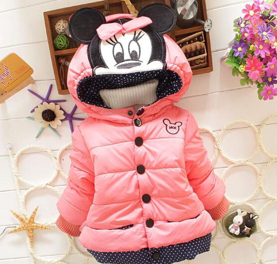 Down Parkas children outerwear winter 0-6  ages snowsuit christmas clothing coats Jacket minnie mouse warm thicken clothes Kids