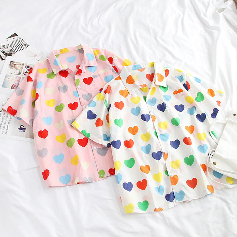 Kawaii Summer Woman Shirt With Hearts 1
