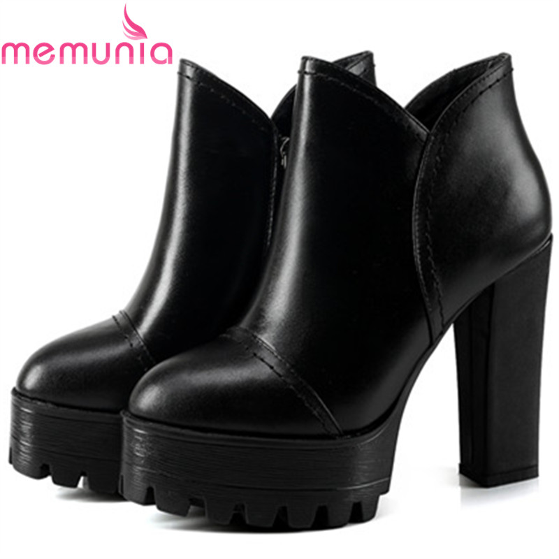 все цены на MEMUNIA Large size 34-44 platform shoes woman high heels boots for women ankle boots black zip genuine leather boots