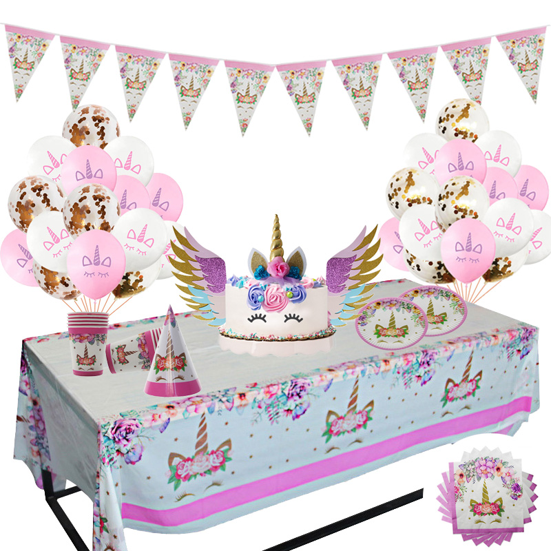 Unicorn Party Supplies Pink Unicorn Disposable Tableware Kit Napkin Cups Unicornio Baby Shower Kids Birthday Party Decorations in Disposable Party Tableware from Home Garden