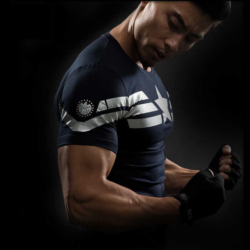 새로운 만화 슈퍼 히어로 압축 셔츠 캡틴 아메리카 아이언 맨 맞는 꽉 G ym 보디 빌딩 T 셔츠