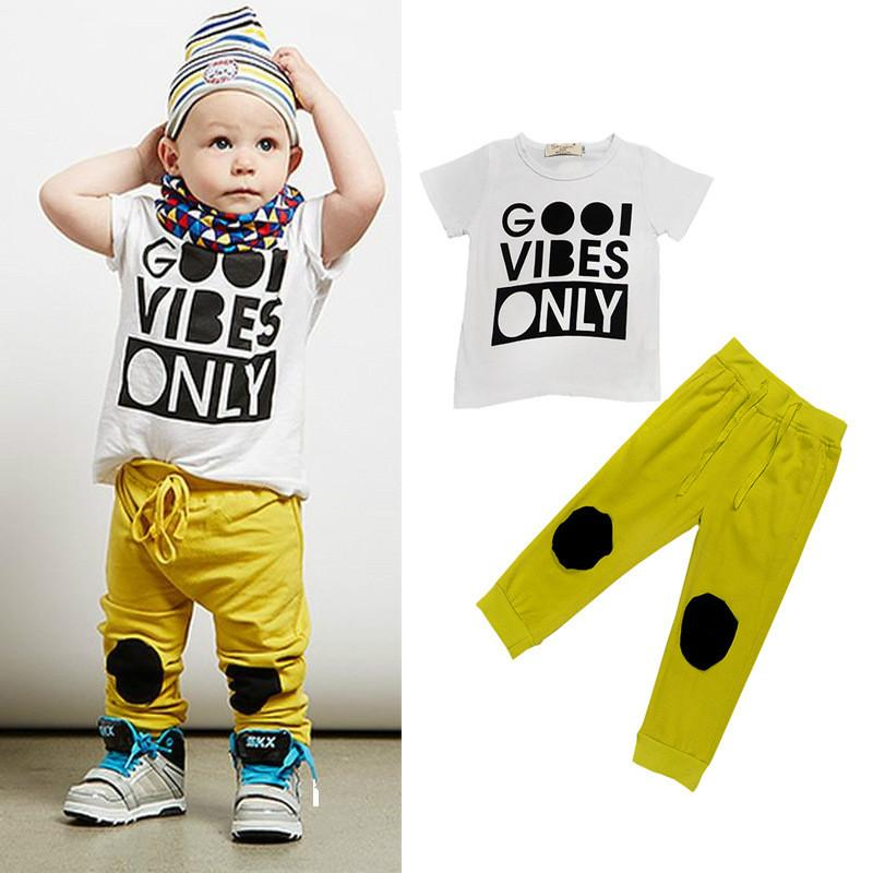Summer Boys Clothes 1 2 3 4 5 Year Children Clothing Set Letter Printed T-shirts Pants Kids Suits Cotton Casual Toddlers Costume