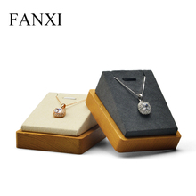 FANXI New  Solid Wood Necklace Display Stand with Microfiber Pendant Holder Cream-white & Dark Gray Jewelry Exhibition