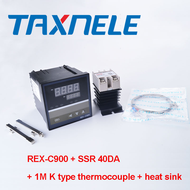 Digital <font><b>PID</b></font> Temperature Controller <font><b>REX</b></font>-<font><b>C900</b></font> <font><b>REX</b></font> <font><b>C900</b></font> thermostat ssr output + 40DA SSR Relay+ K Thermocouple 1m Probe RKC image