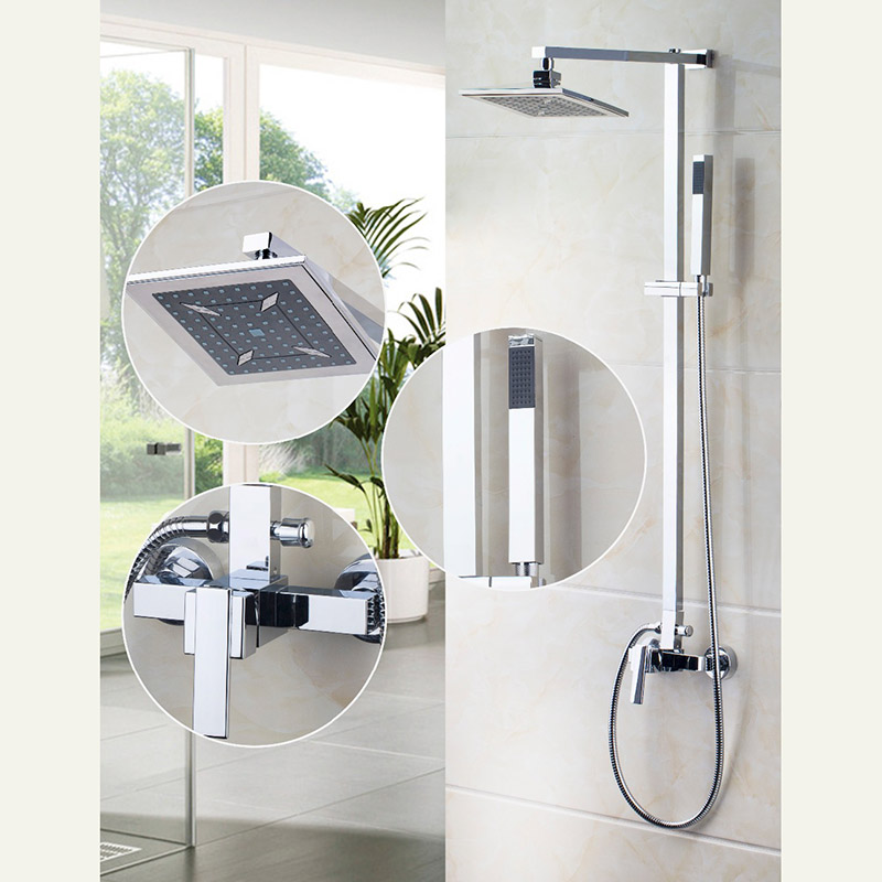 8 inch Chrome Brass Waterfall Shower Set Bathroom Rainfall Shower Mixer Tub Faucet Shower Set Spray ada instruments 6d maxliner