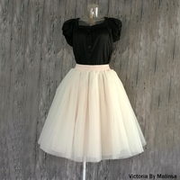Beige Tulle Skirt Girls Women Adult Tutu Skirts Knee Length Empire Boll Gowns Maxi 7 Layers