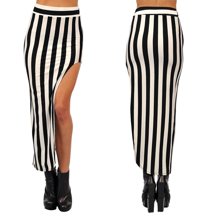 ece8cf94e1 Fashion Women's skirt street style black and white vertical striped Pencil  skirt sexy split irregular skirt free dropshipping-in Skirts from Women's  ...