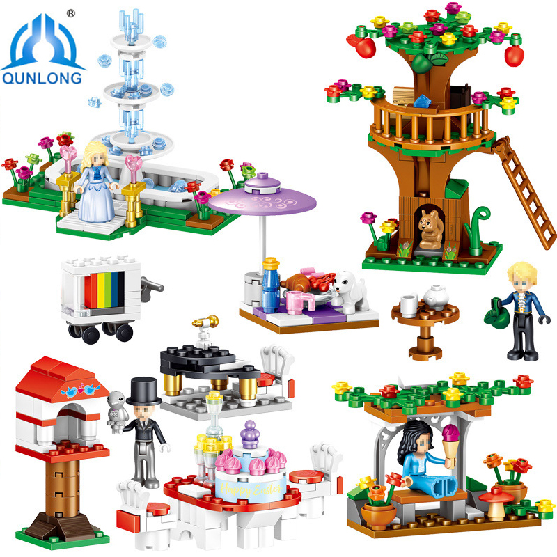 Qunlong 436pcs Mine Crafted Building Block Bricks Compatible Legoings 4 in 1 Action Figures Toys For Childrens Day Gifts