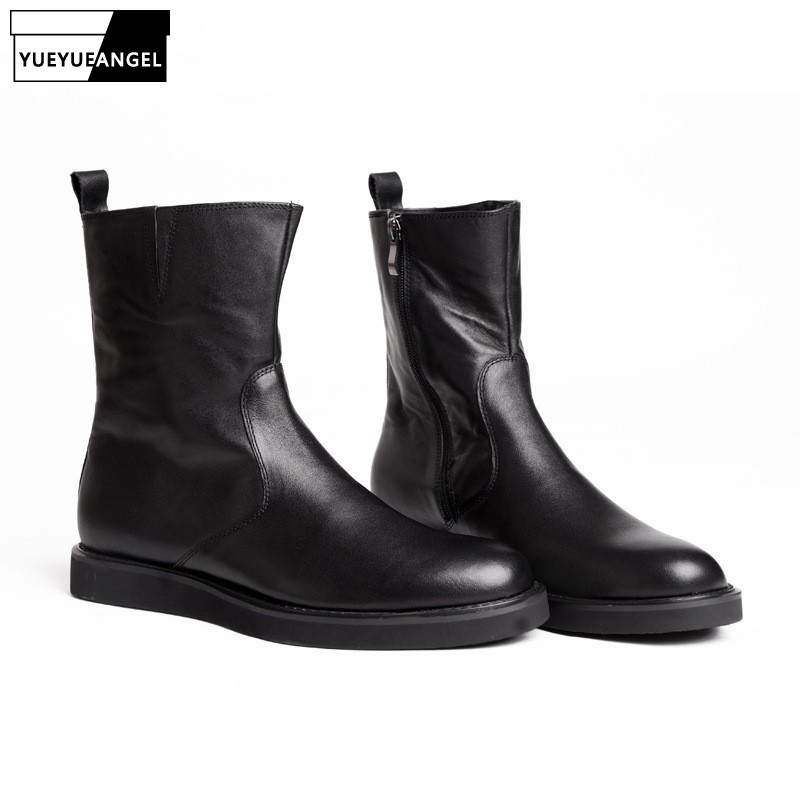 High Quality Mens Boots Male Side Zip Winter New Fashion Black Plus Size Male Casual Shoes Round Toe British Motorcycle BikerHigh Quality Mens Boots Male Side Zip Winter New Fashion Black Plus Size Male Casual Shoes Round Toe British Motorcycle Biker
