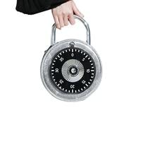 2017 Fashion Clock Women Handbags Personality Circular Shoulder Bags High Quality Password Lock Model Small Tote