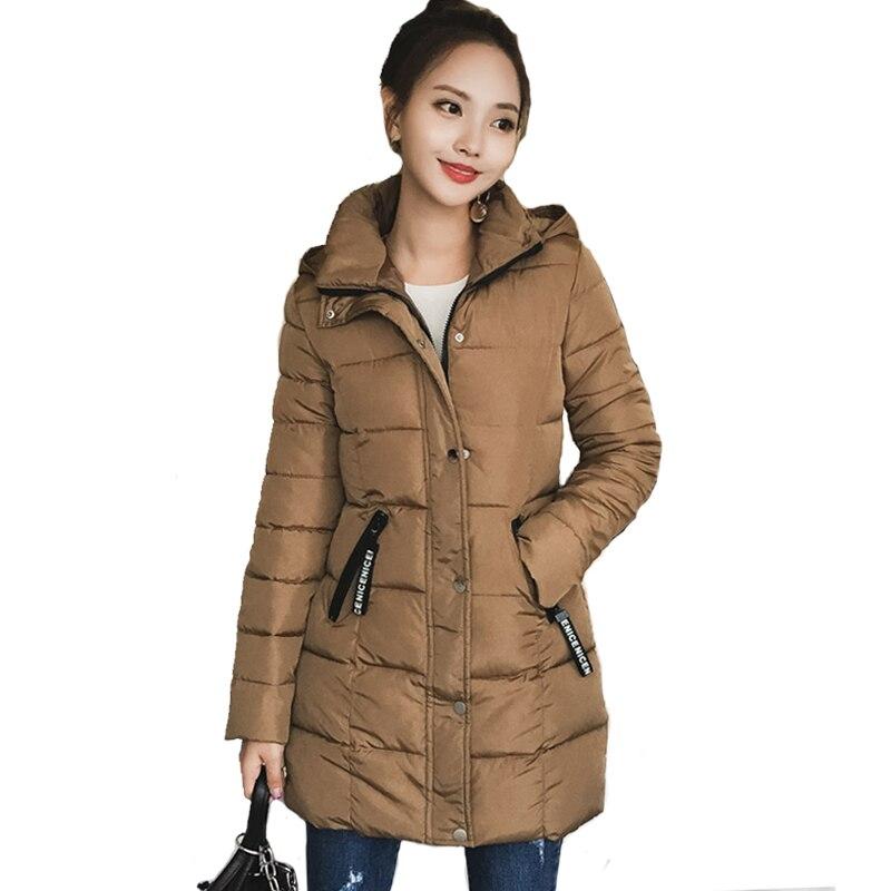 2017 hooded women winter jacket solid color warm womens ...