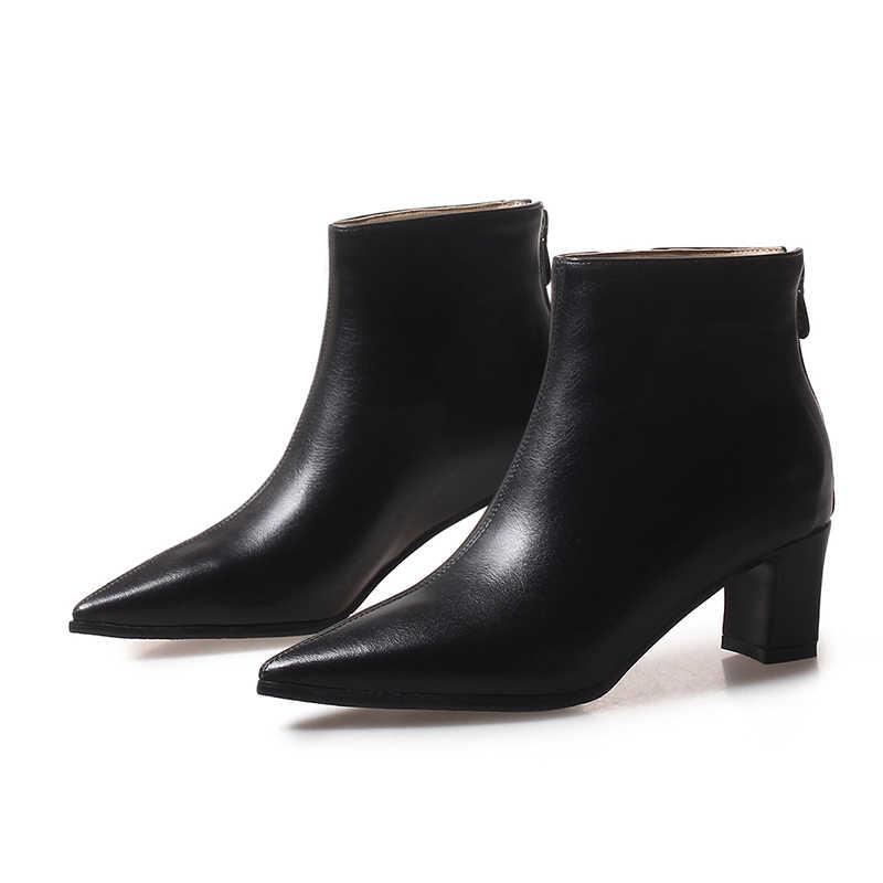 WETKISS Yeni Düşük Topuklu Kadın yarım çizmeler Sivri Burun Kauçuk Pu Ayakkabı Zip Kadın Çizme Ayakkabı Kadın 2020 Sonbahar Artı Boyutu 32-48