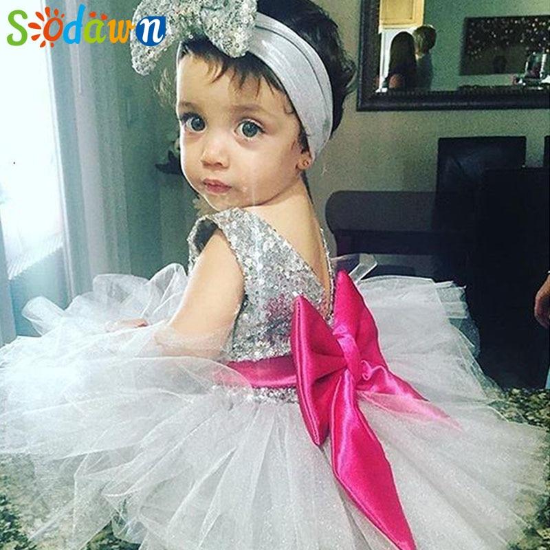 Sodawn 2018 New Girls Dress Cross-country ins Sequins Bow Net Sarong Kids Childrens Dresses Baby Girls Princess Dress