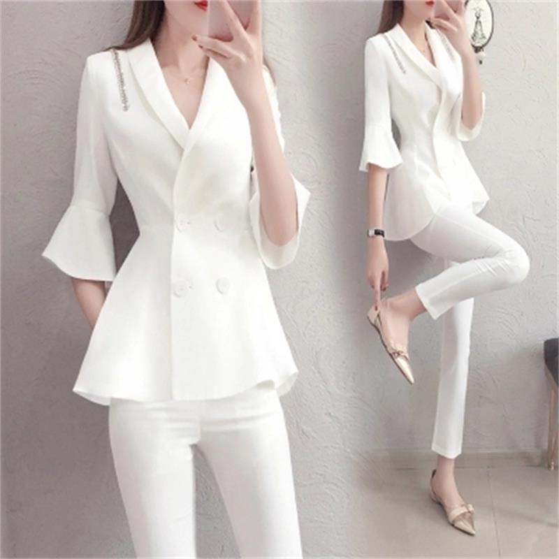 أزياء ربيع جديد زائد حجم المهنية بدلة الإناث أزياء السيدات الأبيض ضئيلة بدلة الصغيرة الصيف اثنين من قطعة بدلة النساء-في بدلة بسروال من ملابس نسائية على  مجموعة 1