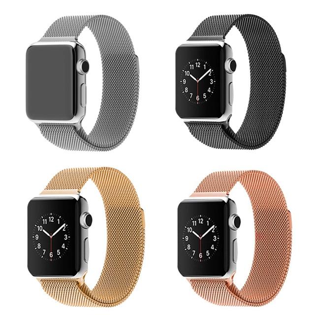 Para apple accesorios de 1:1 original milanese bucle wach reloj banda de banda de acero inoxidable para apple watch 38mm/42mm reloj