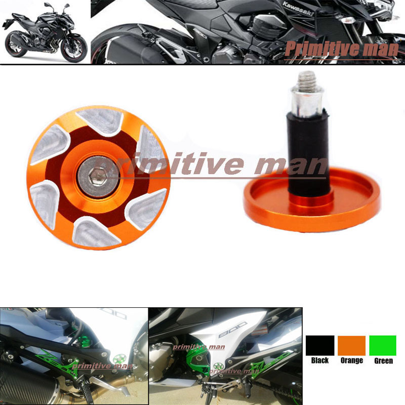 Para kawasaki z800 2013- motocicleta accesorios marco agujero tapa orange