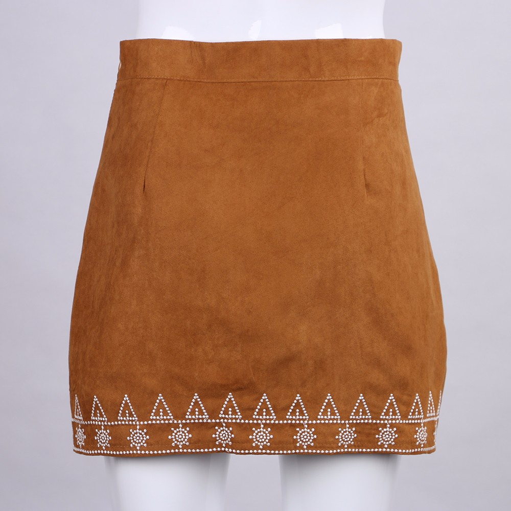HTB1Vk6rNFXXXXbBXpXXq6xXFXXXI - FREE SHIPPING  Embroidery Suede A-line Skirt Black Brown Mini Skirts JKP350