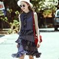[XITAO] alta qualidade 2016 verão novo estilo Europeu e Americano azul ponto onda vestido longo simples estilo dot vestido feminino MF-007