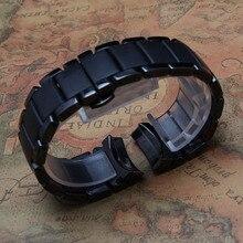 Nuevo de Alta Calidad Venda de Reloj de Cerámica Negro Correas de Reloj Correa de la Pulsera curved end 22mm Tamaño Disponible para 1452 arenoso de la rutina