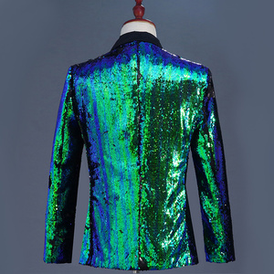 Image 2 - Mens Flipping Sequins Blazers Jackets Singer DJ Costumes Men Blue Green Paillette Suits Homme Stage Prom Dance Nightclub Outfit