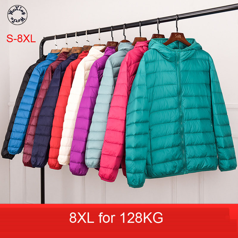 Woxingwosu girl's hooded down coat large code, light down jacket, female short, super light and thin. S to 4XL 5XL XL 7XL 8XL