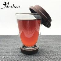 Arshen 350ml Double Wall Mug High Borosilicate Glass Bottle Food Grade Cover Coasters Coffee Tea Juice