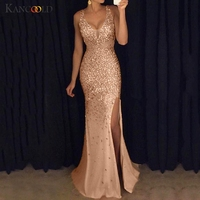 KANCOOLD Dress Women Sequin Prom Ball Party Gown Sexy Dress Gold Evening V Neck Long fashion Dress women 2019FEB6