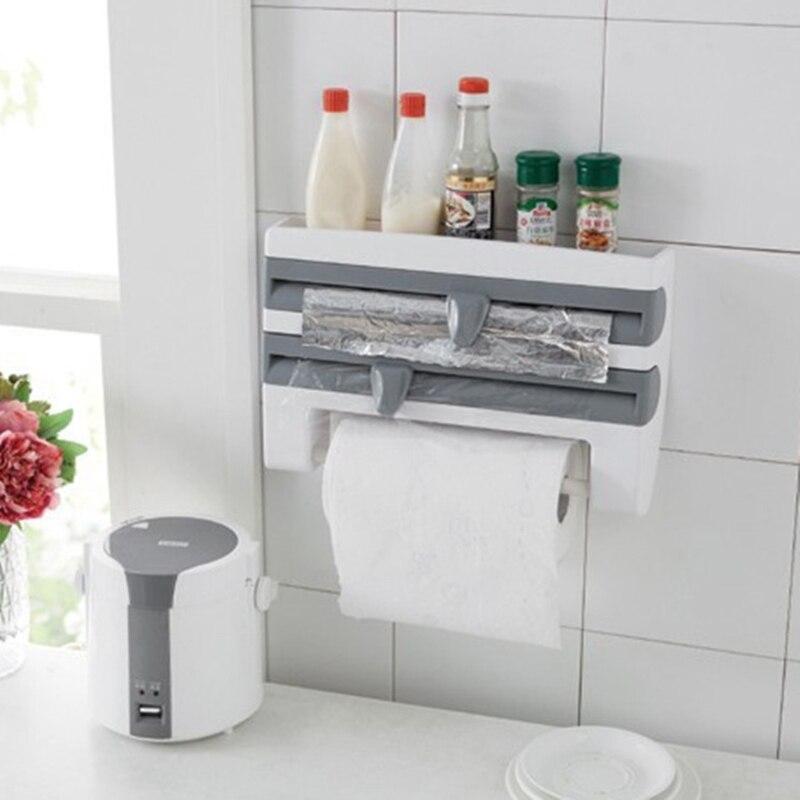 Multi-function Wall Roll Aluminum Foil Dispenser Paper Film Kitchen Paper Spice Shelf Holder Save Kitchen Space Elegant