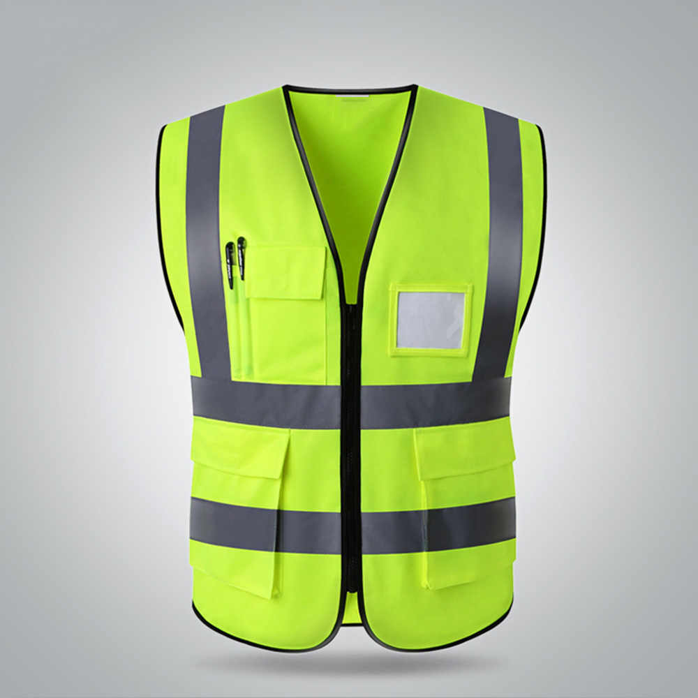 High Quality High visibility reflective safety vest work reflective vest multi pockets workwear safety waistcoat men safety vest