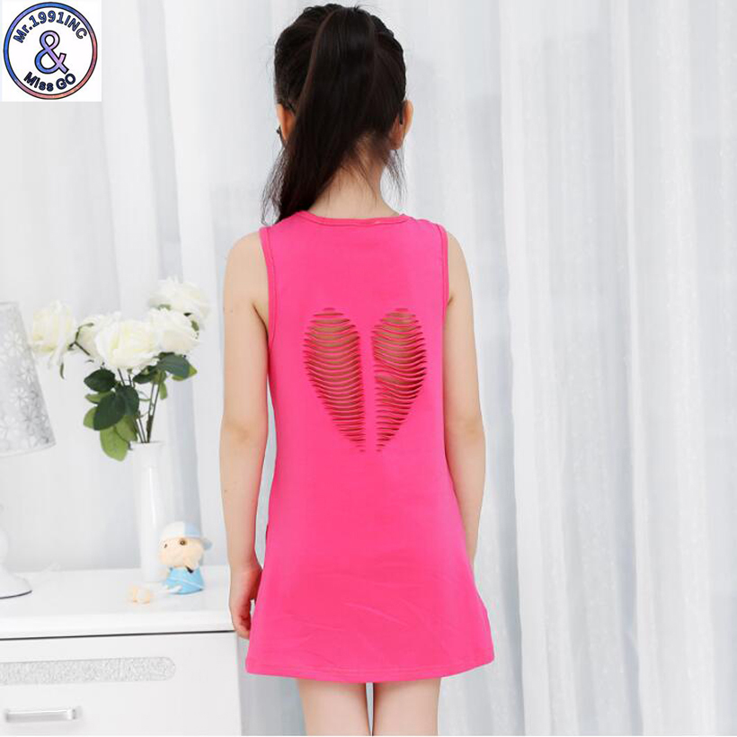 Mr.1991 brand new Heart-shaped hollow style baby Girls Cotton Dresses Teenage girl vest dress vestidos Infantis Clothes HD3 100% real photo brand kids red heart sleeve dress american and european style hollow girls clothes baby girl clothes