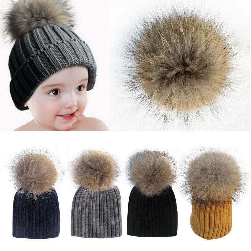 3c9d28d79 US $4.5 18% OFF EFINNY Baby Lovely Beanie Raccoon Fur Pom Bobble Kids  Woolen Hat Kids Warm Crochet Hats Kawaii Baby Winter Hat for Girls Boys-in  Men's ...