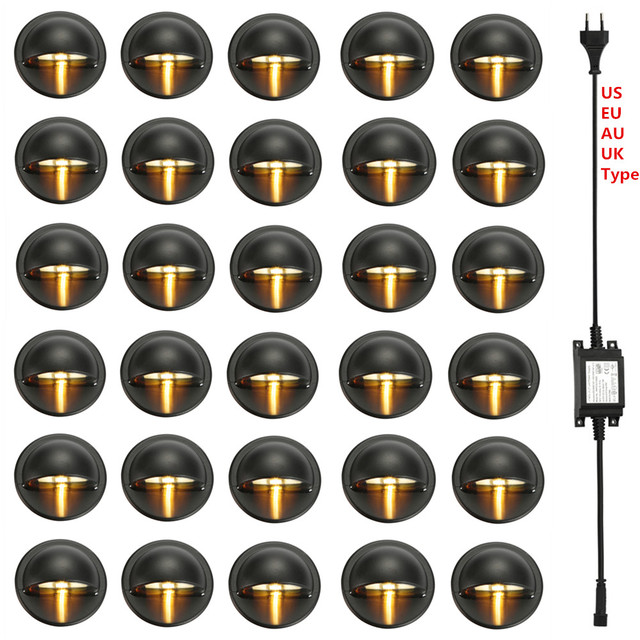 30 Pcs שחור חצי ירח 35mm LED סיפון רכבת צעד מדרגות גדר מסד אורות נמוך מתח DC12V + 30 W שנאי