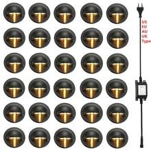 30 pçs preto meia lua 35mm led deck trilho passo escada cerca plinth luzes de baixa tensão dc12v + 30 w transformador