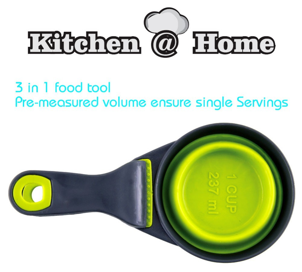 3 In 1 Food Tool Pre-measured Volume ensures Single Servings Food Scoop Measuring Cup Bag Clip PP002