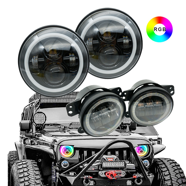 1 set 7 inch LED RGB Headlight DRL w/ Turn Signal 4 inch fog light for 97-17 Jeep Wrangler JK TJ & Wrangler Unlimited.