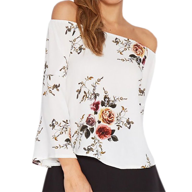 Floral Print Blouses Slash Neck Chiffon Blusas Plus Size Summer Beach Women Sexy Shirts Loose Flare Sleeve Off Shouler Top LX345