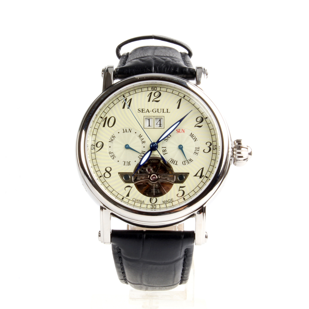 Full Calendar Grande Date Flywheel Genuine Seagull M307S Onion Crown Exhibition Back Automatic Men's Sea-gull Watch seagull grande date flywheel self wind skeleton 3 hands automatic mechanical men s business watch 816 409