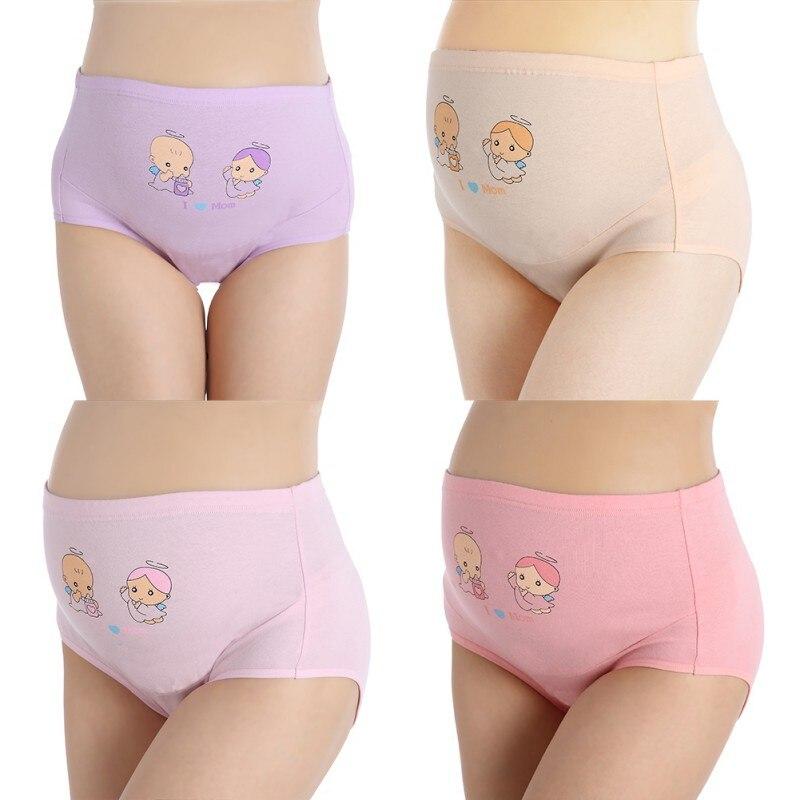 Cotton Pregnant Panties High Waist Mother Belly Support Underwear Cartoon Postpartum Briefs Pregnancy Short Pants 1PCS NT54