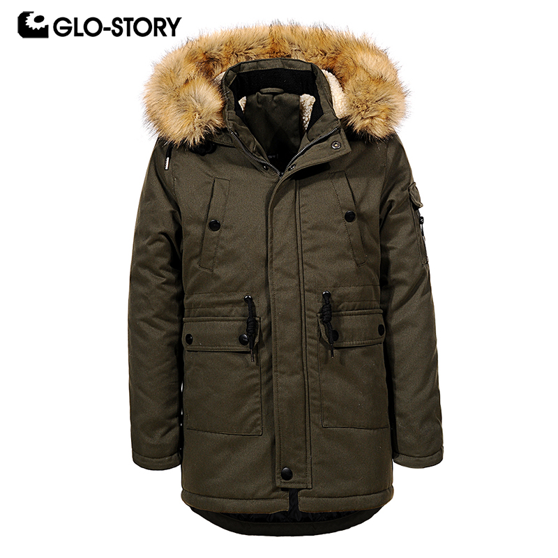 GLO-STORY Teenage Children Boys Winter Wool Liner Thick Warm Fur Hooded Long Parkas Kids Windbreaker Jackets Coats BSX-6677 glo story teenage boys winter jackets children boy 2018 casual streetwear patchwork with tape zipper hoodie parkas coats