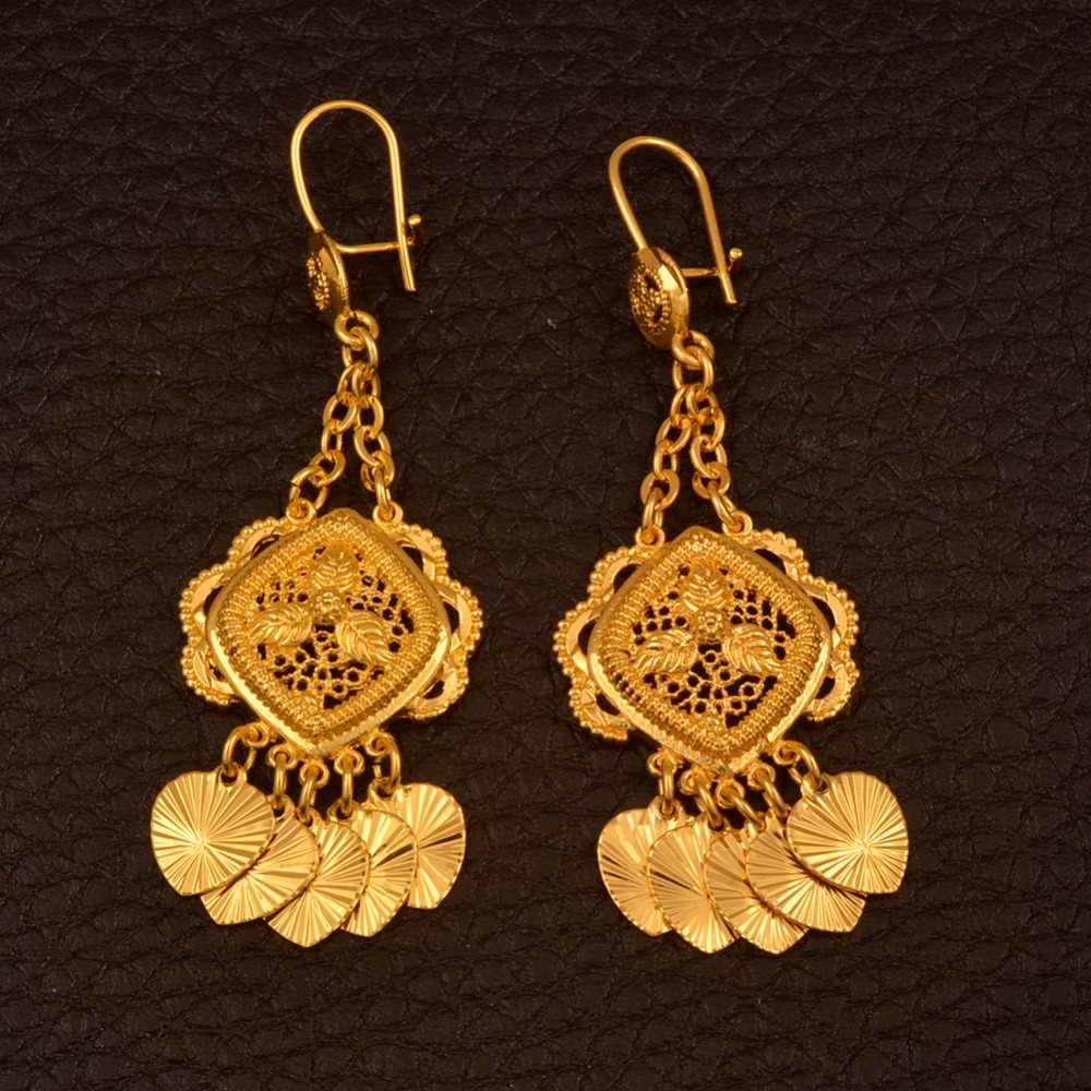 Anniyo African Gold Color Drop Earrings for Women/Girls,Nigeria Jewelry Gifts With Heart Small Pieces #111306