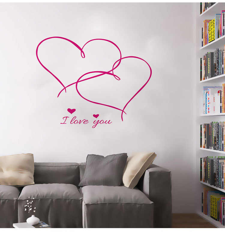 42*35cm Love Heart Flower DIY Vinyl Decal for Bedroom Living Room Home Decor Art Mural Removable Wall Stickers Decoration