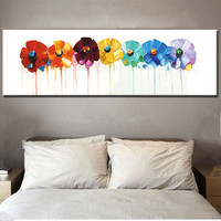 Large Acrylic Floral Paintings Home Decor Pictures Hand Painted Abstract Flowers Oil Painting On Canvas Knife