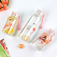 Northern Europe Tropical Flamingo Travel Mugs Reticule Fine Flower Transparent Security Borosilicate Cup Outdoors Portable 1