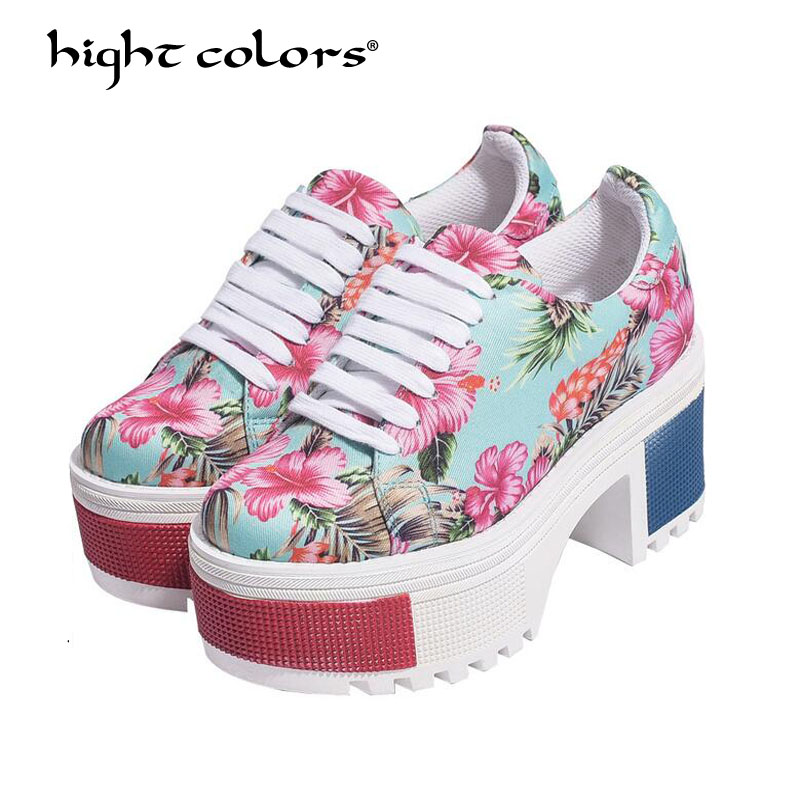 Wedge High Heels zapatos mujer Platform Heels ladies Canvas Shoes chaussure Femme Women School Valentine zapatos Casual Shoes large size 8cm high 2016 women casual canvas shoes woman platform wedges high top with zippers ladies zapatos mujer espadrilles