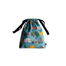 Women Cotton Drawstring Bag With Pocket Cartoon Pouch Printing Backpack Worek Travel Size Small Bag School Purse Handbag 50Z0111