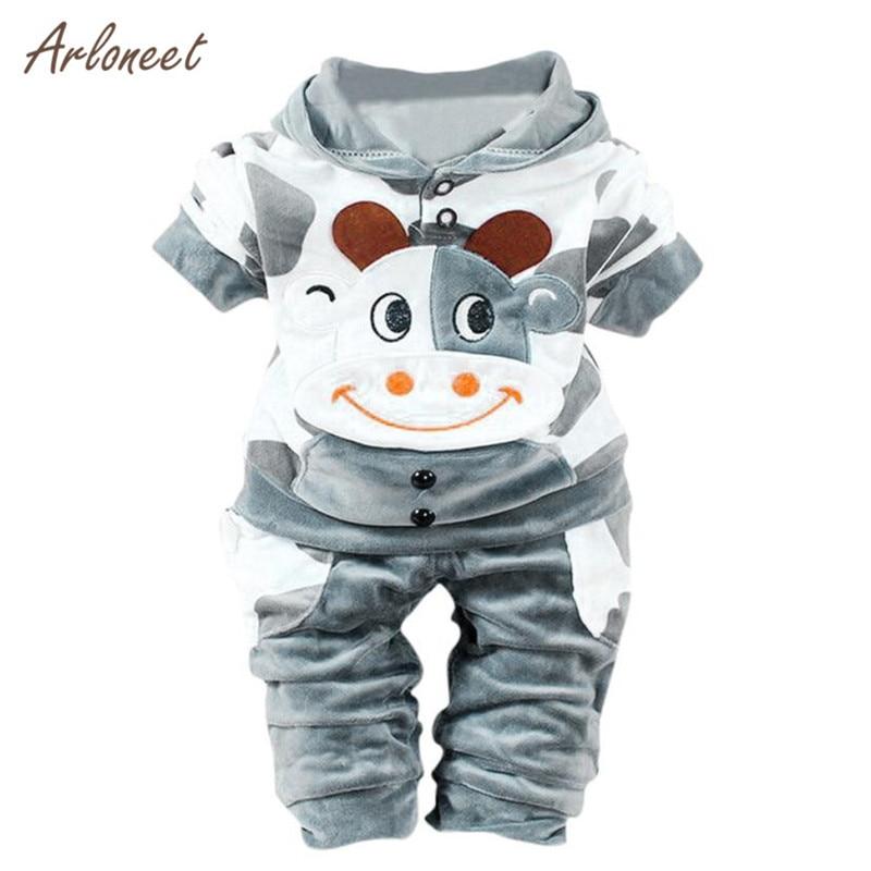 ARLONEET Newborn Baby Girls Boys Cartoon Cow Warm Outfits Clothes Velvet Hooded Tops Set Clothes Set Long sleeve S3FEB2