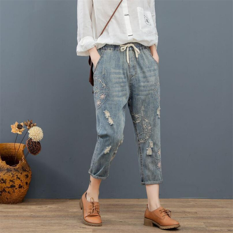Literary retro jeans 2019 spring summer female embroidery washed hole harem pants casual lace up denim pants r746