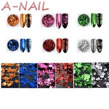 6 Colors/set Nail Glitter Aluminum Flakes Mirror Effect Nail Powders Irregular Sequins Chrome Pigments Nail Art Decorations