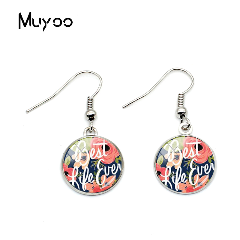 2019 Fashion Arrival The Best Life Ever Quotes Glass Dome Womens Fish Hook Earrings Jewelry Best Ever Life Quotes Gifts image